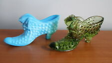 Fenton Hobnail Slipper Shoe 3995 x 2 Cat Kitten Head Blue Marble Colonial Green