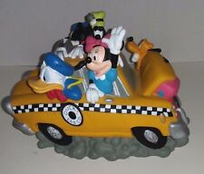 Disney Fab 5 Duck Taxi Cab Co Coin Bank w/ Mickey Minnie Donald Duck Goofy Pluto