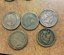 {Bjstamps} 5 different Copper-Nickel Indian Cents 1859, 60, 62, 63, & 64 lot3