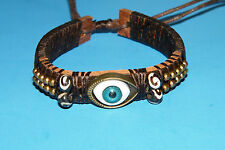 "BLUE EVIL EYE BRACELET Goth Punk Rock BROWN Leather Cuff GOLD Beads 6""-11"" NEW!"