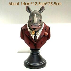 Retro Rhino Walrus Bust Resin Ornament Sculpture Figurine Home Office Decoration