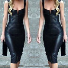 Womens Strapless Bodycon Solid Leather Dress Ladies Party Evening Mini Dress UK
