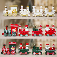 Christmas Wooden  Kids Gifts Mini Train Ornament Xmas Party Home Favor Decor