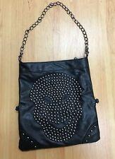 Women's Girl's Black Faux Leather Skull Studs Handbag