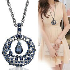 Retro Blue Silver Round Plated Crystal Rhinestone Sweater Chain Pendant Necklace