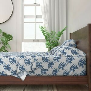 Asian Japanese Geometric Bamboo Blue 100% Cotton Sateen Sheet Set by Roostery