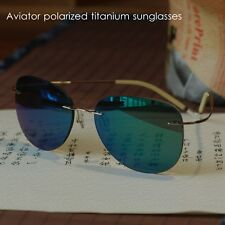Titanium pilot sunglasses Mens UV400 Driving mirror blue green sunglasses unisex