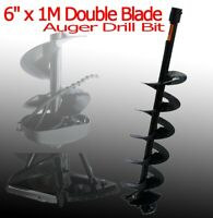 "3/4"" Fitting 6"" x 1M Ice Earth Auger Drill Bit w/ Double Sharp Blades"