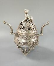 Old Tibetan Tibet Silvering copper monkey and grape white copper incense burner