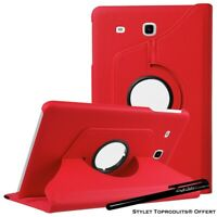 Housse Etui Rouge pour Samsung Galaxy Tab E 9.6 SM T560 Support Rotatif 360°
