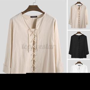 INCERUN Medieval Men V Neck 100%Cotton Long Sleeve Shirt Tops Tee Causal Blouse