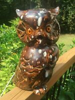 "Vintage Retro 15"" tall OWL NIGHT LIGHT Ceramic MID CENTURY Fall Color Glaze"