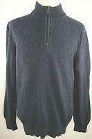 Calvin Klein Jeans Sweater Size XLarge Henley Navy Blue Cotton Long Sleeve Knit