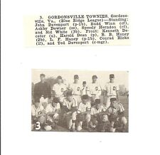 Gordonsville Townies Virginia 1953 Baseball Team Picture