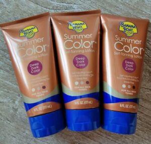 3 Pack Banana Boat Dye-Free Summer Color Self-Tanning Lotion Deep Dark 6 OZ EACH