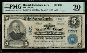 1902 $5 - Hoosick Falls, New York - Plain Back - FR.607 Charter 2471 - PMG 20