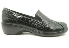 Clarks Black Crocodile Print Patent Leather Fashion Loafers Shoes Women's 9.5 W