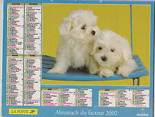 CALENDRIER ALMANACH DES PTT 2002 CHIENS PUPPIES GOLDEN RETRIEVERS