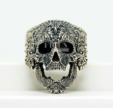 Unique Gothic Killer Sugar skull Ring biker Rider 925 Sterling silver Men's