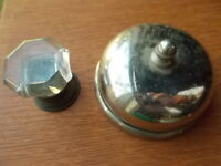 Antique Nickel Plated Mechanical Doorbell & Cut Glass Pull c.1885 by Sargent