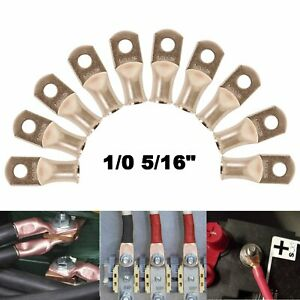 """10X Gauge 1/0 5/16"""" Battery Cable Ends Lugs Hole OFC Copper Ring Terminals Wire"""