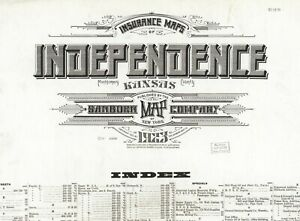 Independence, Kansas Sanborn Map© sheets~41 maps on a CD in color PDF files~1923