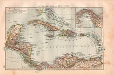 Antique BIG SIZE map. CENTRAL AMERICA & WEST INDIES. 1895