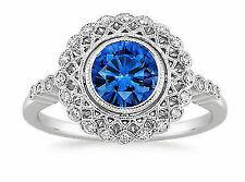 Diamond Halo & Sapphire GEMSTONE Engagement Ring 14k White Gold 1.50ct