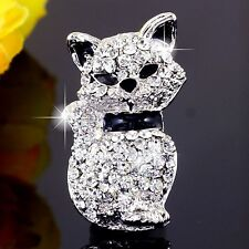 #P987B Cute Kitten Cat Animal Pin Brooch Crystal Great Sparkle Gift Women Men