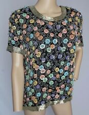 VTG Blacktie Oleg Cassini Sequin Beaded Flower Trophy Dress Top Blouse S