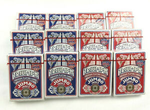 NEW 12 Decks of Jumbo Size Triumph Playing Cards MADE IN USA Poker Game Blue Red