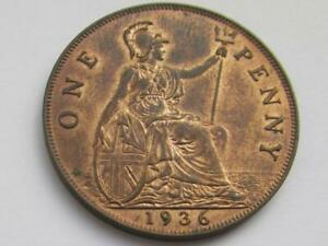 George V Penny 1936 - Nice collectable coin with some traces of lustre