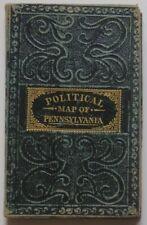 Rare Original 1835-40 hand-colored Folding Pocket POLITICAL Map of Pennsylvania