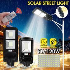 Outdoor Commercial 80W LED Solar Street Light IP65 Dusk to Dawn PIR Sensor Lamp
