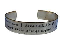 Alice in Wonderland Cuff Bracelet. Hand stamped Bracelet. Six impossible...Brass