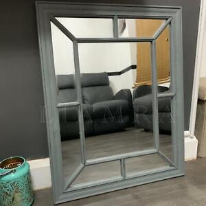 61x76cm Rustic Grey Window Style Hanging Wall Mirror Hallway Home Decor Mirror
