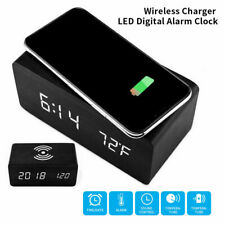 Wooden Alarm Clock With Qi Wireless Charging Pad Compatible With Latest IPHONES