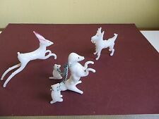 Vintage Small White Blown Art Glass Murano Style? Dog Puppies on Chain & Deer