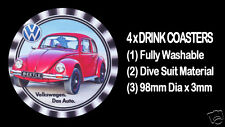 4  x  VOLKSWAGEN VW BEETLE, DAS AUTO- DRINK COASTERS - Fully Washable Re-usable