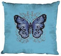 cojines decorativos 40 x 40cm Almohadas Decorativas Mariposa 06992-1 azul claro
