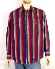 vtg 80s Wrangler Hot Pink Shadow Stripe Western Pearl Snap Shirt Southwest sz XL