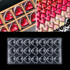 21 Hole Heart Shaped Clear Polycarbonate Chocolate Cake Candy Pudding Mold Mould