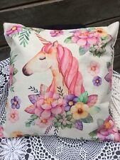 Floral Unicorn Cushion Cover Throw Pillow Linen look 45 cm hidden zip