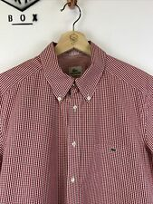 LACOSTE, Mens Size L (41), Red Check, Small Logo, Reg Fit SS Shirt,*EX COND*