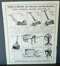 Vintage Architectural Advert ' Young and Marten Stratford 'Lawn Mowers Rollers.