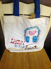 Pottery Barn Teen Inspirational Graphic Tote Listen to Your Heart New
