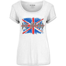 Def Leppard Union Jack Ladies Scoop Neck White T-Shirt