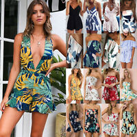 Women's Floral Shorts Mini Playsuit Jumpsuit Romper Summer Beach Holiday Dress