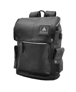 AirKrew Black Leather Waterproof Backpack for Work or School, highly durable