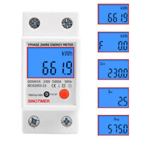 Digital LCD Kwh Wattmeter Power Consumption Energy Meter Electric Din Rail 230V